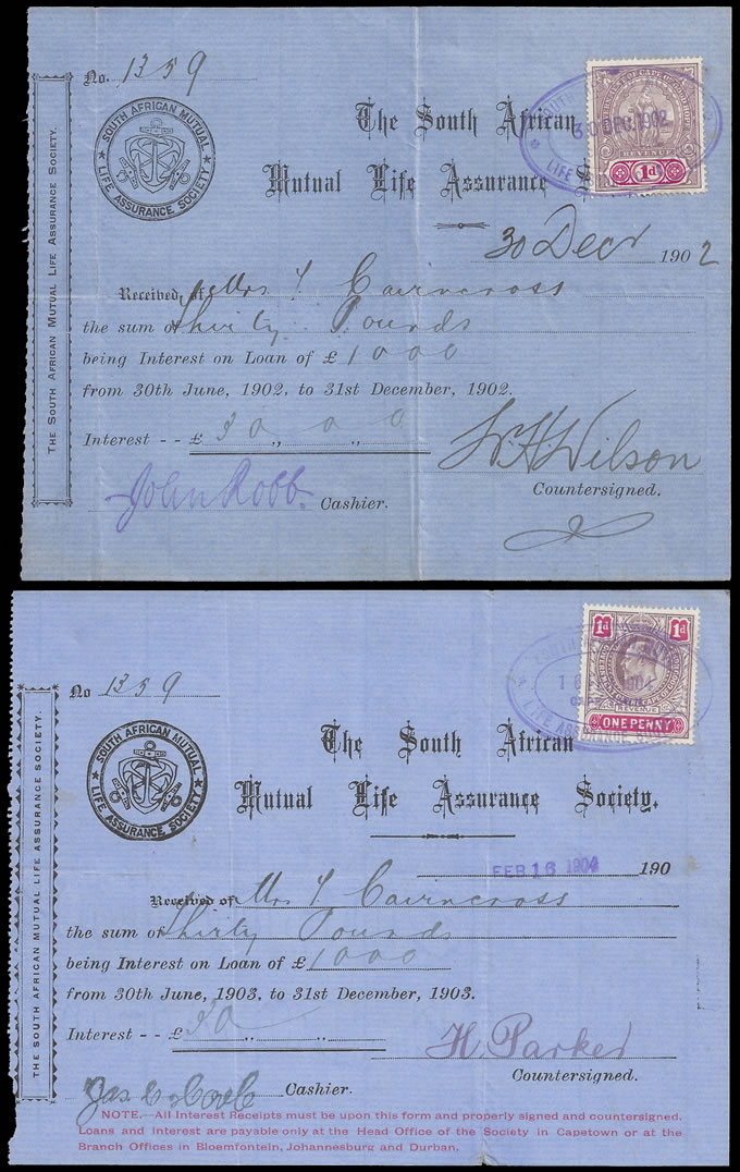 CAPE OF GOOD HOPE 1902-04 SA MUTUAL LIFE ASSURANCE RECEIPTS