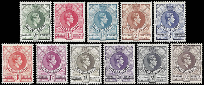 SWAZILAND 1938-54 KGVI ½D - 10/- FULL SET VF/M