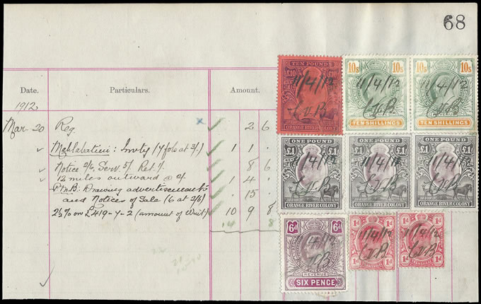 South Africa Revenues 1912 Interprovincial Cape, ORC & Tvl Combo