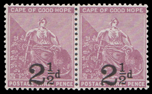 CAPE OF GOOD HOPE 1891 2½D ON 3D PAIR VF/M