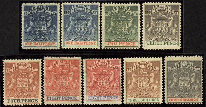 RHODESIA 1892 ARMS TO 4/- F/M