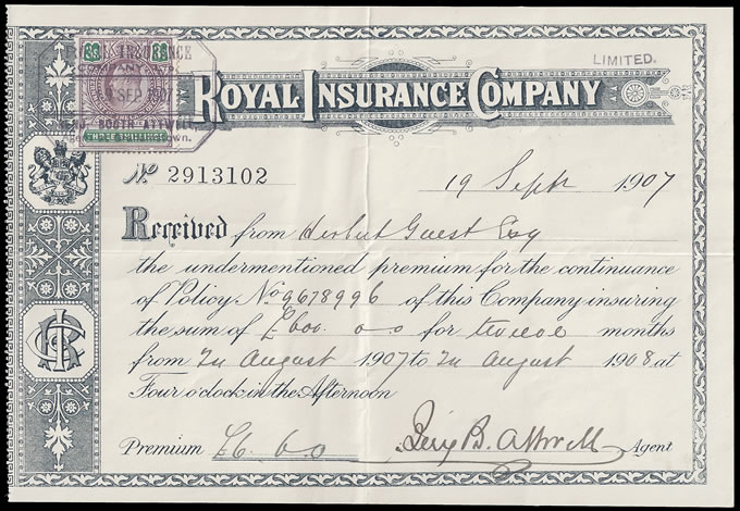 Cape of Good Hope 1907 KEVII 3/- on Royal Insurance Receipt