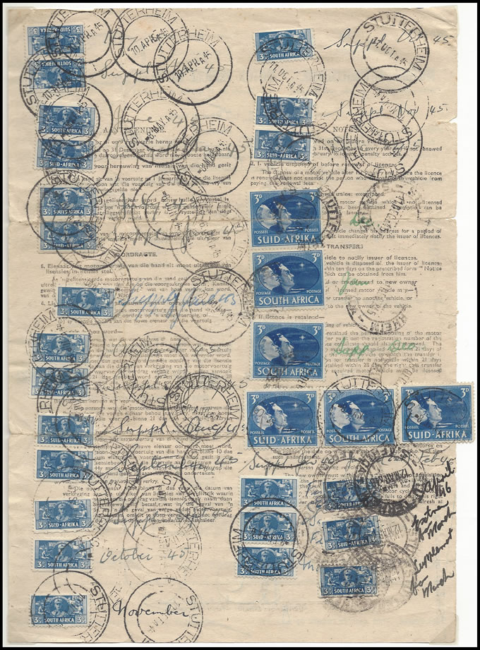 South Africa Revenues 1945 Motor License with War Bantam Stamps