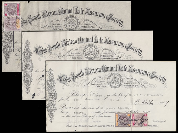 CAPE OF GOOD HOPE 1905-09 SA MUTUAL LIFE ASSURANCE RECEIPTS