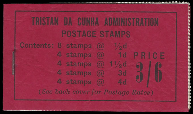 TRISTAN DA CUNHA BOOKLET 1958 3/6 RED VF COMPLETE, LEFT STAPLE