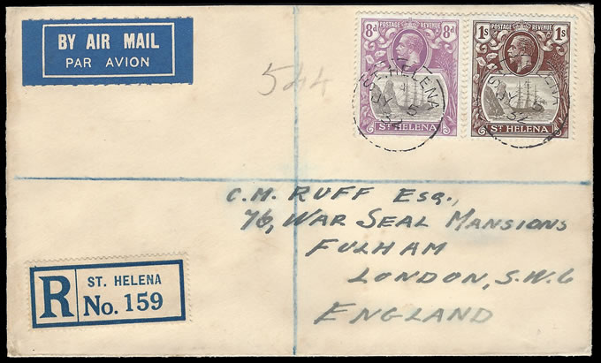 SAINT HELENA 1932 8D & 1/- BADGE ISSUE FRANKING TO UK