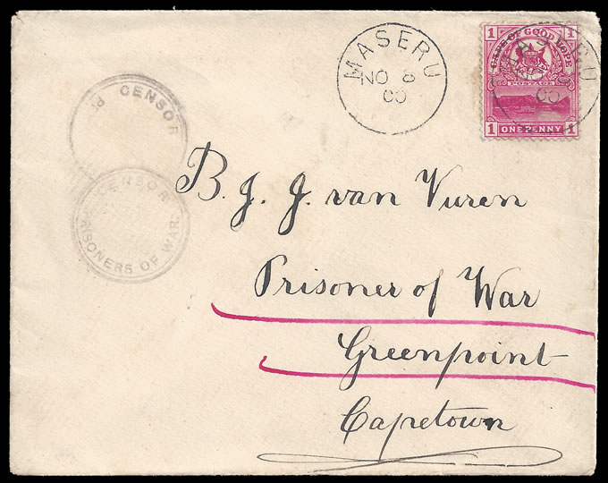 BASUTOLAND 1900 BOER WAR COVER MASERU TO POW GREEN POINT