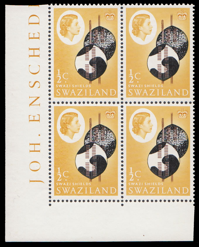 SWAZILAND 1962 ½C SHIELDS INVERTED WATERMARK BLOCK