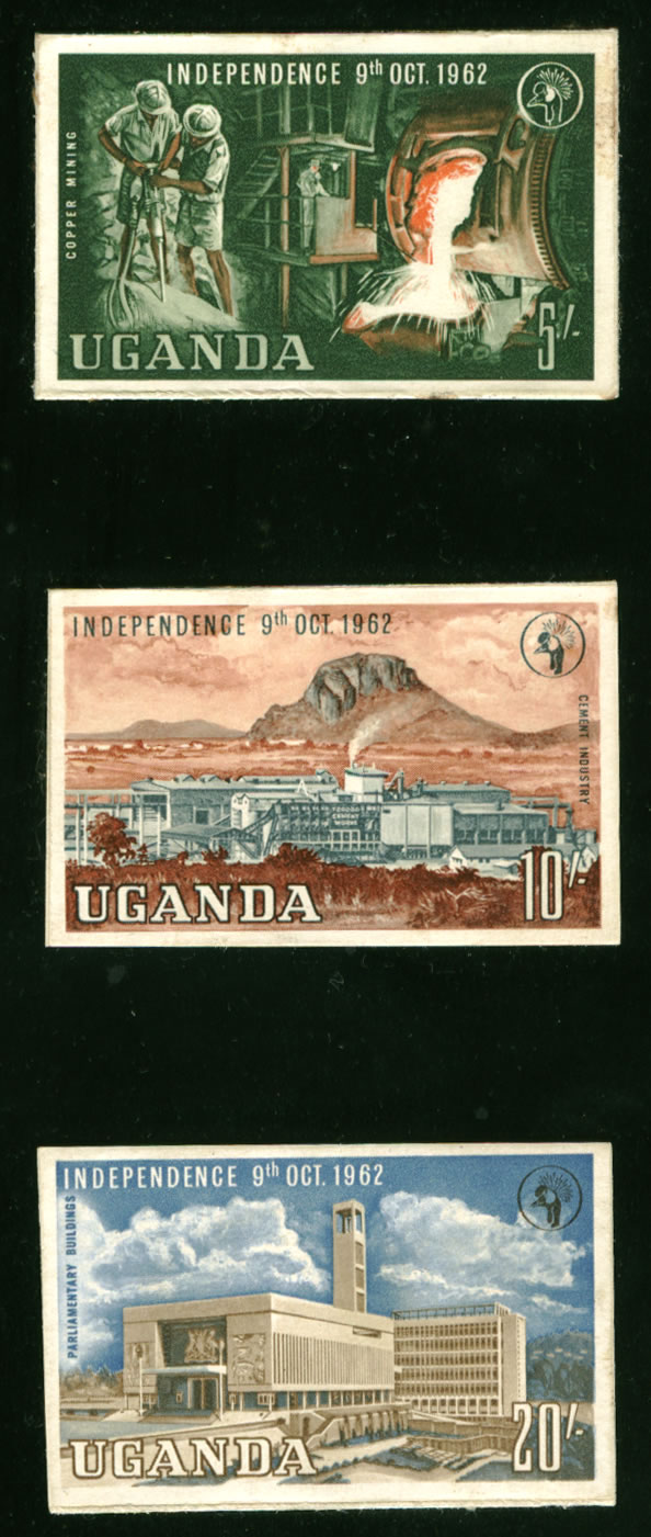 UGANDA 1962 INDEPENDENCE IMPERF PROOFS LARGE FORMAT