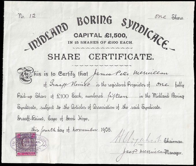 CAPE OF GOOD HOPE 1905 MIDLAND BORING SHARE CERTIFICATE