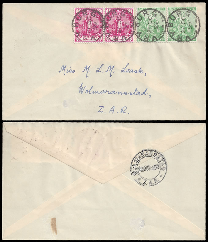 VRYBURG 1899 LEASK FIRST DAY COVER ZAR OCCUPATION