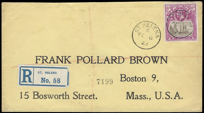 SAINT HELENA 1923 6D BADGE ISSUE FRANKING TO USA