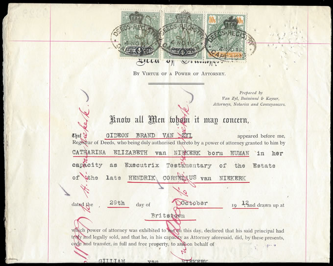 Cape of Good Hope 1912 Transfer Deed Hope Standing £4 etc