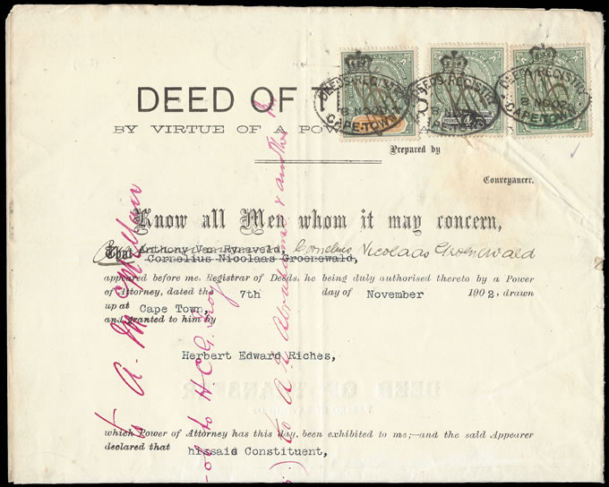 Cape of Good Hope 1902 Transfer Deed Hope Standing £5, £4 & 10/-