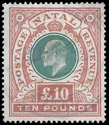 NATAL REVENUES 1902 KEVII £10 VF FISCAL USE