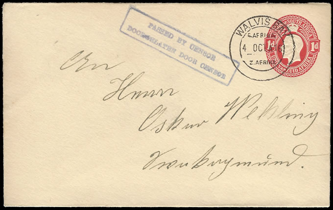 SOUTH WEST AFRICA 1916 SA KGV 1D ENVELOPE USED WALVIS BAY