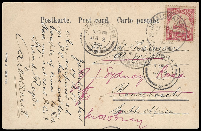 SOUTH WEST AFRICA 1907 JAKALSWATER POSTCARD & USE