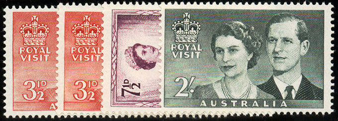 AUSTRALIA 1954 ROYAL VISIT INCL 3½D WITH RE-ENTRY