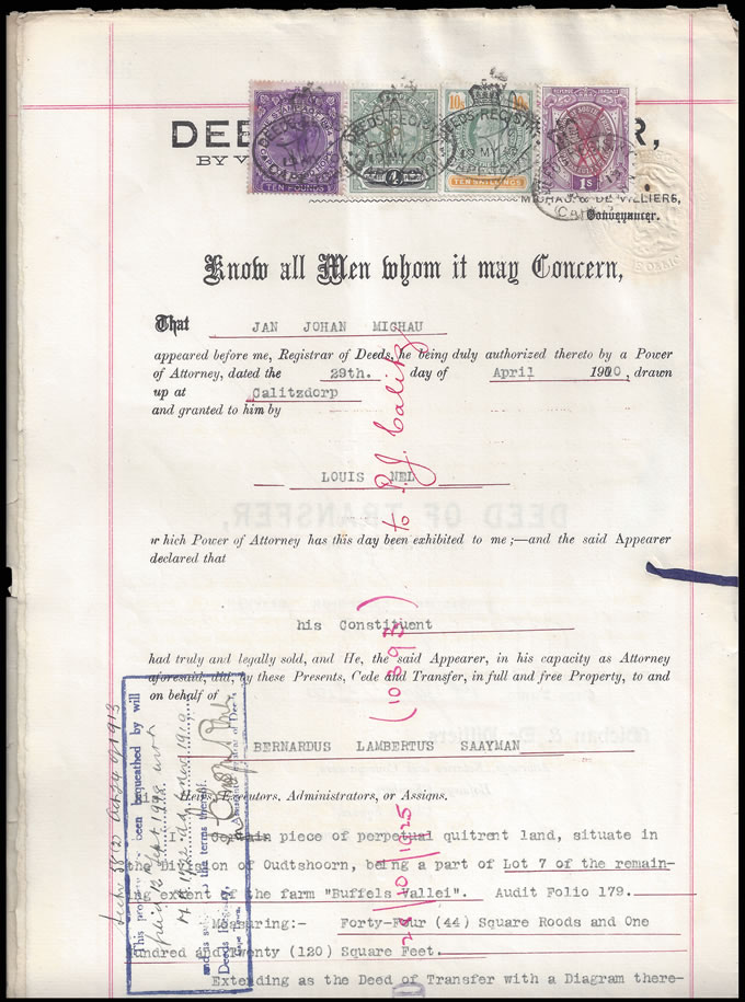 Cape of Good Hope 1910 Transfer Deed QV £10 Hope Standing £4 etc