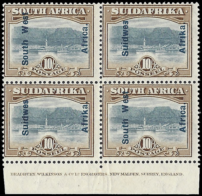 SOUTH WEST AFRICA 1927 10/- IMPRINT BLOCK UM, 16½ OVPT