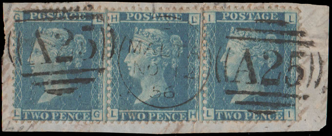 MALTA 1856 GB USED IN: STRIP 2D BLUES, A25 POSTMARKS