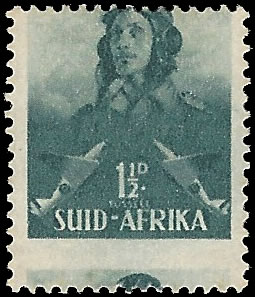 South Africa 1942 Large Wars 1½d Airman Misperforated - Freebie!