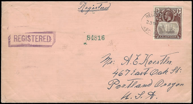 ASCENSION 1928 KGV BADGE ISSUE 1/- REGISTERED FRANKING TO USA