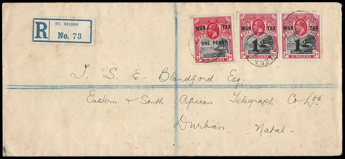 Saint Helena 1919 War Tax Stamp Franking on Letter to SA
