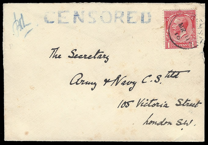 "ASCENSION 1916 GB KGV 1D FRANKING ON ""CENSORED"" LETTER"