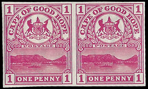 CAPE OF GOOD HOPE 1900 1D TABLE MOUNTAIN IMPERF PLATE PROOFS
