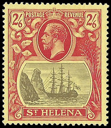 SAINT HELENA 1922 BADGE ISSUE 2/6 TORN FLAG VF/M