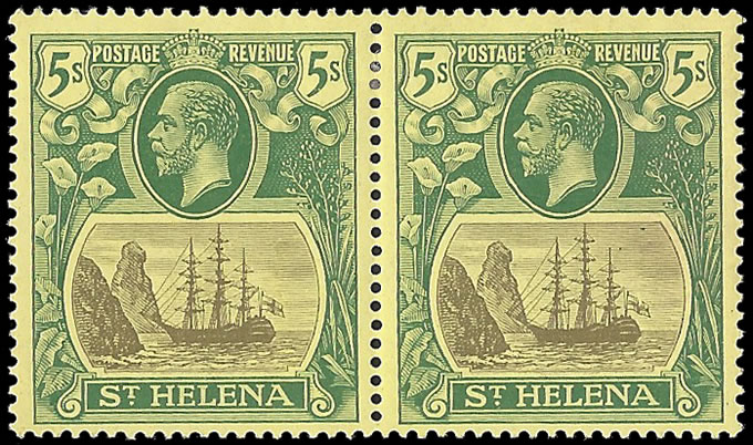 SAINT HELENA 1922 BADGE ISSUE 5/- TORN FLAG VF/M IN PAIR