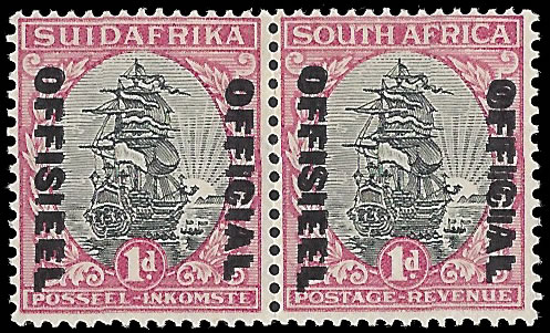 SOUTH AFRICA OFFICIALS 1933 1D OVERPRINT DOUBLE VF/M