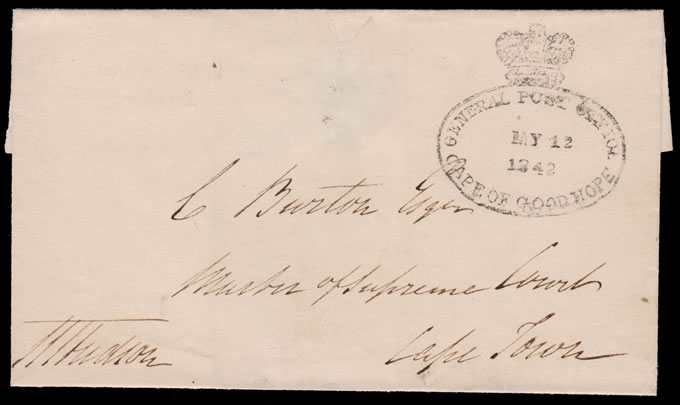 CAPE OF GOOD HOPE 1842 THIRD DATED LETTER STAMP, VF