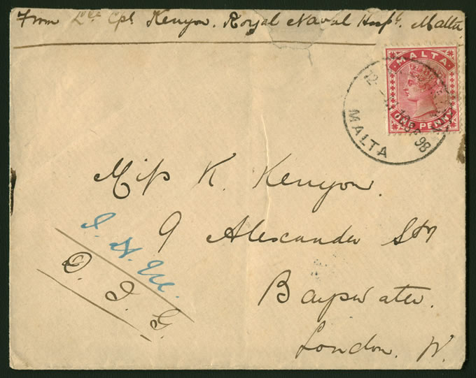 MALTA 1897 SAILORS LETTER, CONCESSIONARY RATE
