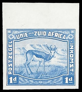 South Africa 1923 Harrison Essays 1d Imperf in Blue