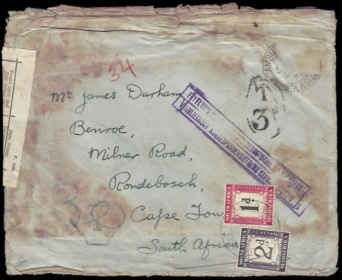 SOUTH AFRICA 1939 CHALLENGER SEAPLANE CRASH COVER, TAXED