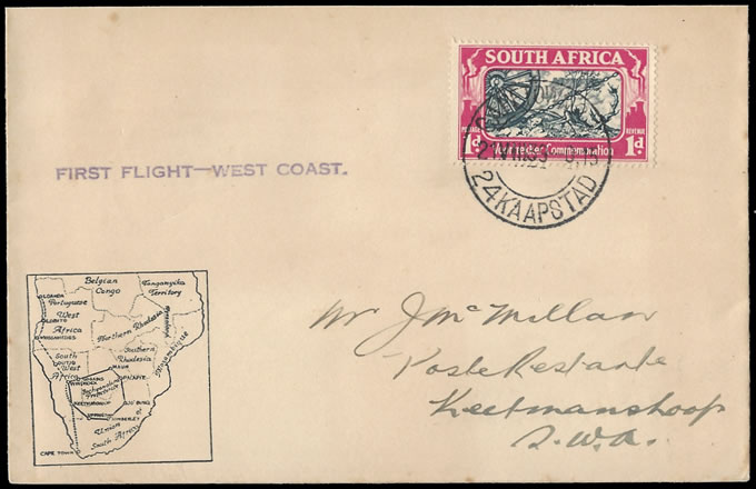 South Africa 1939 SAA West Coast First Sector Cape-Keetmanshoop - Click Image to Close