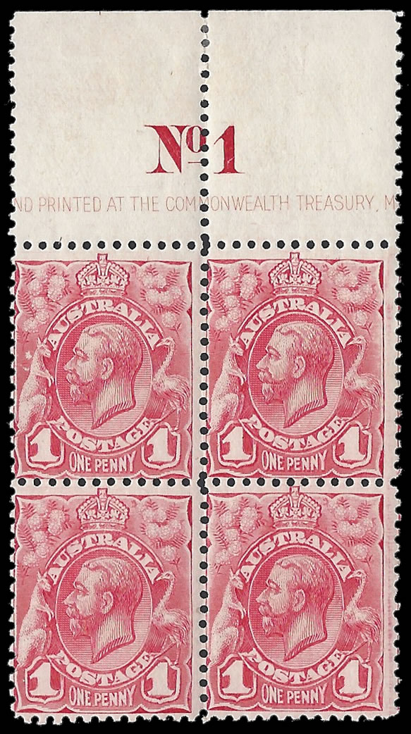 AUSTRALIA 1913 KGV 1D PLATE NO IMPRINT BLOCK WITH RETOUCH