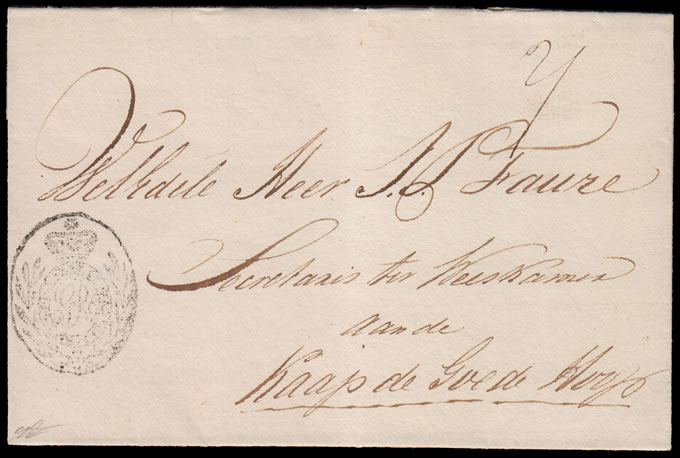 CAPE OF GOOD HOPE 1810c WRAPPER WITH VF OVAL MEDALLION