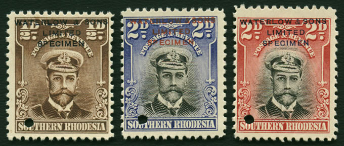Southern Rhodesia 1924-29 KGV Trio Specimens, Unissued Colours