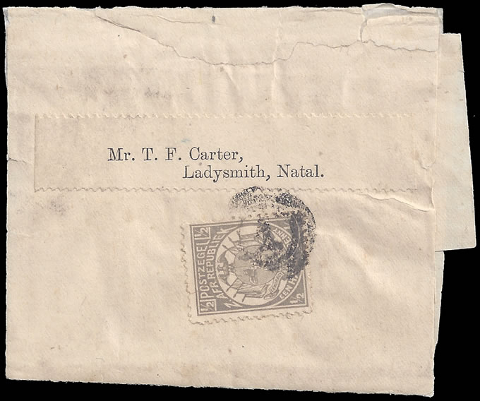 Transvaal 1889 Newspaper Wrapper at ½d Rate