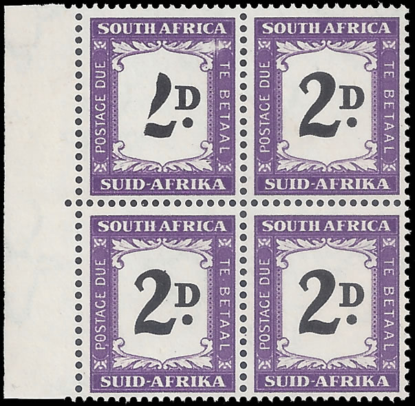 SOUTH AFRICA POSTAGE DUE 1952 2D BLACK (VALUE) PARTIALLY OMITTED
