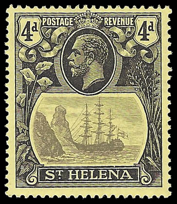 SAINT HELENA 1922 BADGE ISSUE 4D BROKEN MAINMAST VF/UM