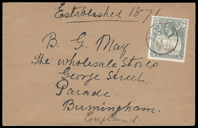 SAINT HELENA 1923 KGV 2D CLEFT ROCK VARIETY ON COVER