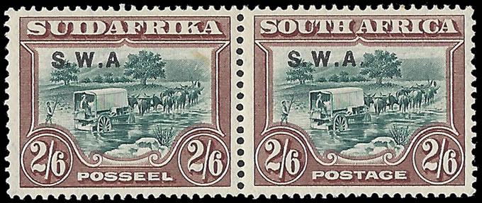 "SOUTH WEST AFRICA 1927 2/6 NO STOP AFTER ""A"" IN VF/M PAIR"