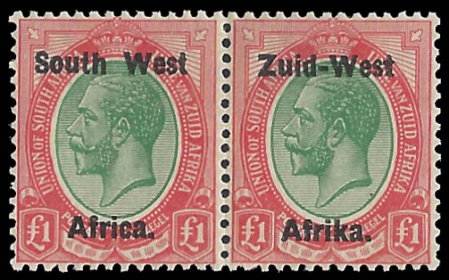 "SOUTH WEST AFRICA 1923 KGV £1 SETTING I MISSHAPEN ""A"""