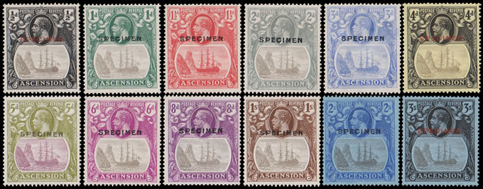 ASCENSION 1924 BADGE ISSUE ½D - 3/- SET SPECIMENS INCL VA