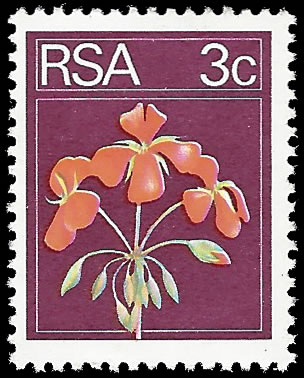 SOUTH AFRICA 1974 3C GERANIUM MAROON COLOUR OMITTED