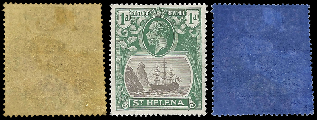 SAINT HELENA 1922 BADGE ISSUE 1D SIDEWAYS WMK, DISCOVERY COPY